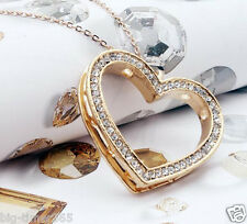 18K Yellow Gold Plated 4cm Heart Pendant Necklace Use SWAROVSKI CRYSTAL Chain