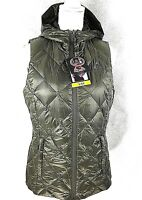 GERRY Womens Puffer Vest Small Reversible Down Hood Packable Green Camo Zip NWT