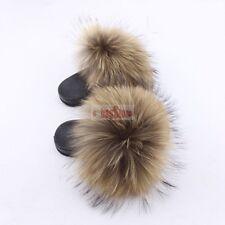 INS Hot-Gift Girls Kids Fluffy Real Fox Fur Slipper Children Slides Sandal Shoes