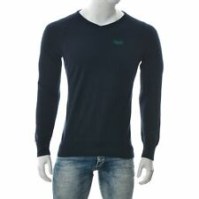 Superdry Hommes Pull Col V Chemise Manches Longues Pull Grand Bleu Marine Coton