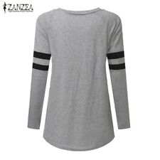 ZANZEA Oversized Women Long Sleeve Stripe Crew Neck Shirts Tops Blouse Tee S-5XL