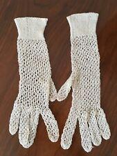 Antique Victorian Edwardian Summer Fishnet Day Dress Crochet Gloves Vtg Wedding