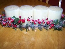 New fireplace long centerpiece Four Piece Candle holder Berries Merry Christmas