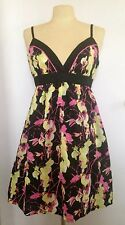 Black & Neon Pink Yellow Florals Cotton A-Line Sun Dress by H&M fits size 4 or 6