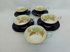AYNSLEY BONE CHINA WATER LILYS TEA CUPS SAUCERS COBALT BLUE VINTAGE FLOWERS