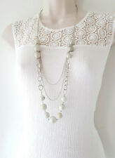 "Gorgeous 36"" long silver tone 3 layered chain & bead necklace, SLIGHT SECONDS"