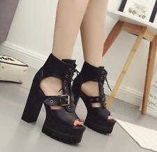 Women Party Block High Heels Belt Buckle Lace Up Ankle Boots Sandals Platform