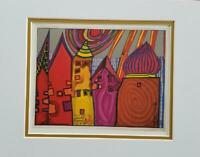 "Friedensreich Hundertwasser ""Waiting Houses"" Matted Offset Color Lithograph 1986"