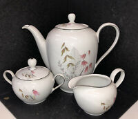 ROYAL DUCHESS BAVARIA GERMANY COFFEE/TEA POT,SUGAR BOWL,CREAMER  MOUNTAIN BELLE