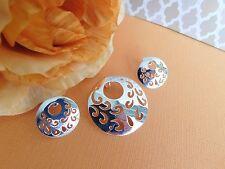 moon Maya pendant & earrings set Mexico Taxco Mexican Sterling silver 925 half