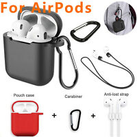 Strap Holder + Silicone Case Cover For Apple Airpods Accessories Air Pod Airpod