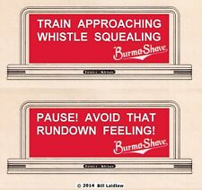 Burma Shave roadside signs, Standard scale set# 2, Train Approaching...Pause !