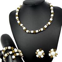 Vintage White Milk Glass Topaz Bead Necklace Wrap Bracelet and Earrings Parure