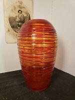 """Red 10.75"""" x 5.5"""" Threaded Art Glass Vase, Blown w/ground bottom, Excellent"""