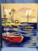 "VTG Large! Ceramic Art Tile Tropical Fishing Harbor, 16"" X 13"" Colorful!"