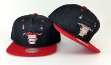 New Mitchell & Ness Chicago Bulls Black / Red Destructed Denim Snapback Hat
