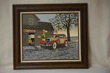 Vintage H. Hargrove Signed Serigraph Oil Painting - Nicks Shell Service Station