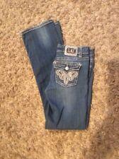 LA Idol Sz 5  Bling Boot Cut Back Flap Stretch Jeans 29 x 33 Denim Pants