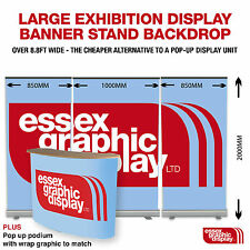 EXHIBITION DISPLAY 3 BANNER STANDS AND PODIUM PACKAGE (1000mm) 1440dpi PRINTING