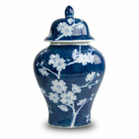 Plum Blossom Ceramic Ceramic Urns - Large  Blue