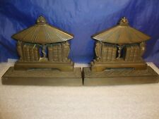 ANTIQUE ART DECO AESTHETIC CAST IRON BOOKENDS BOOKS ON SHELF OWL ENDS
