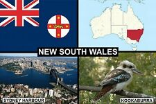 SOUVENIR FRIDGE MAGNET of THE STATE OF NEW SOUTH WALES AUSTRALIA & SYDNEY
