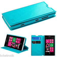 For NOKIA LUMIA 521 Leather Flip Stand Pouch Folio Wallet Case Cover Stand Blue