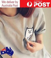 CUTE CAT T-SHIRT - FUNNY RUDE MIDDLE FINGER POCKET - VARIOUS COLOURS SIZES WOMEN
