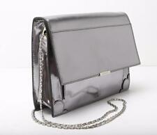JASON WU Mirrored-Silver Patent-Leather Structured Chain-Strap Bag Handbag Purse