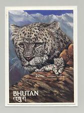 Bhutan #417 Snow Leopard, Wild Cat 1v S/S Imperf Proof on Card