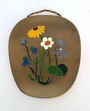 Wandrelief Metall Wandbild Feld Blumen Bronze / Messingguss 50er Jahre  170 g
