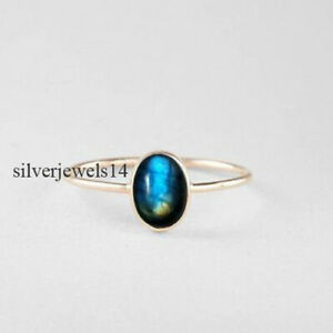 Labradorite Solid 925 Sterling Silver Band Ring Statement Handmade Jewelry sg14