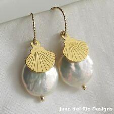 Biwa Zucht Perlen & Muschel Charm Ohrringe Ohrhänger 925 Silber 585 14K Gold