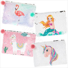 Girls Cosmetic Make Up Bag Pouch Sequin Sparkly Makeup Purse - Unicorn Flamingo