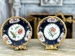 Vintage Miniature Dollhouse Artisan Porcelain UK Gold Gilt Plates Red Flowers