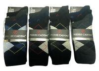 Men's Pierre Calvini Socks 6-11 Black Argyle Cotton Rich Diamond 3 6 12 Pairs