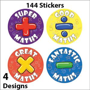 144 x Maths Reward Stickers School Teachers Parents Kids Teaching Award