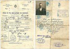 1919 Foglio di via renitente armi Passaporto CONSOLATO ITALIANO LOCARNO Svizzera