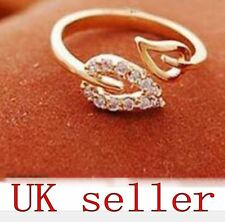 Gold Tone Fashion Leaves Costume Ring Adjustable Unisex Leaf Jewellery gift open