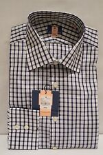ASQUITH & FOX SINGLE CUFF NAVY/WHITE CHECK COTTON SHIRT REG. FIT COLLAR 16""