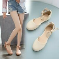 Womens Casual Flats Bow-knot Mary Jane Ankle Strap Round Toe Loafer Fashion Shoe