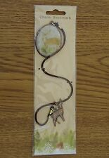 LOVELY OVAL CERAMIC BOOKMARK WITH DEER CHARM. NEW ORIGINAL PACKAGING