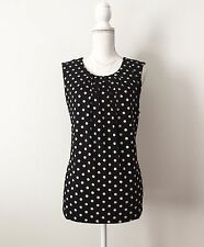NWT $120 BCBG Max Azria Jersey Top SizeXL Black Taupe Cream Polka Dot Pleats