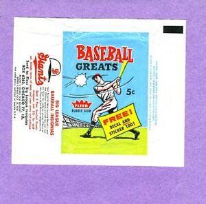 1961 Fleer Greats Baseball Wax Wrapper - Rare - FREE SHIPPING!!!
