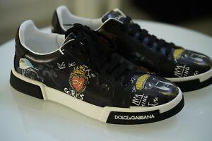 NEW DOLCE&GABBANA White Black Leather Logo Sneakers Shoes - EU42 /US 9