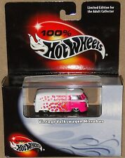 VINTAGE VW MICROBUS, White~Pink, Hot Wheels 1:64, SHIPS FAST, NEW in Box!