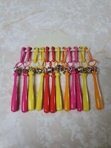 80s Bell Charms for Chain Necklaces Bracelets Plastic Clip Lot Baseball Bat Vtg