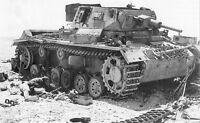 WWII B&W Photo German Panzer III Destroyed World War Two WW2 World War  / 4089