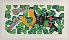 "IKKI Matsumoto Bird Silkscreen ""Toucans"",  Signed Limited Edition Print, 1979"