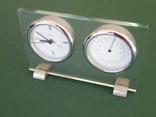 Bulova Glass Table Desk Clock Thermometer; B2880